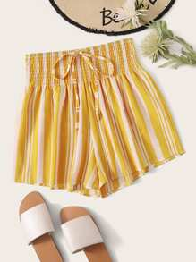 Striped Tie Front Shirred Waist Shorts