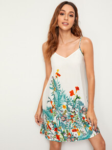 Plants Print Slip Dress
