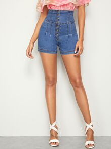 Button Fly High Waist Denim Shorts