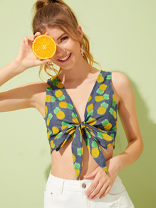Pineapple Print Tie Front Denim Top