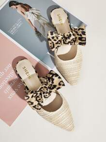 Leopard Bow Decor Plaited Flat Mules