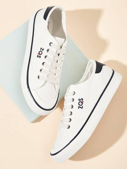 Letter Embroidered Canvas Low Top Sneakers