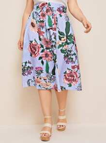 Plus Floral Print Striped Bow Front Skirt