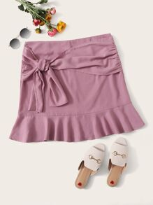 Plus Bow Front Ruffle Hem Skirt