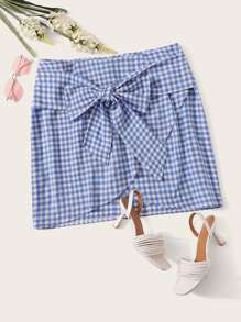 Plus Bow Front Gingham Wrap Skirt