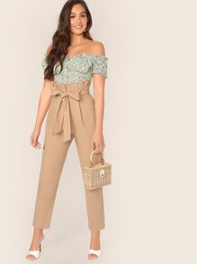 Paperbag Waist Pocket Patched Tailored Pants