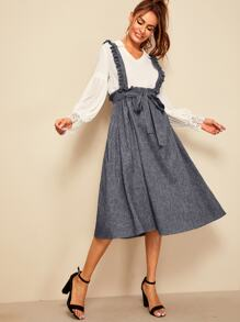 Frill Trim Self Belted Skirt With Ruffle Strap