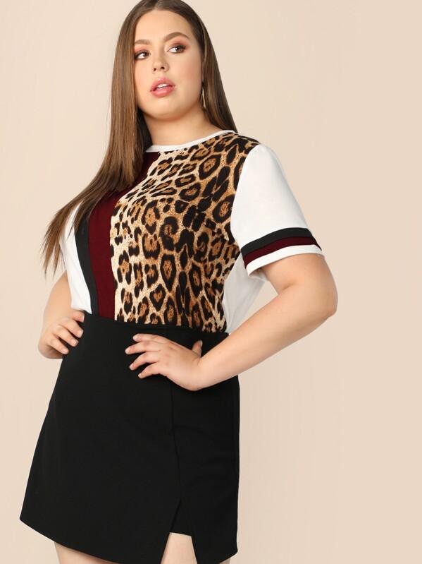 36c4b97f8 Plus Colourblock Leopard Print Tee   SHEIN UK