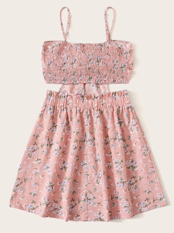 891db93f78 Tie Front Crop Cami Top & Paperbag Waist Skirt Set   SHEIN UK