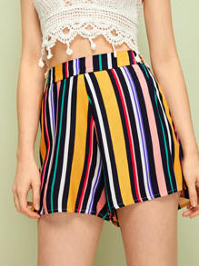Colourful Stripe Wide Leg Shorts