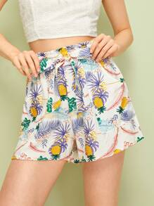 Fruit & Tropical Print Belted Shorts