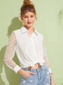 Contrast Dobby Mesh Sleeve Button Front Blouse