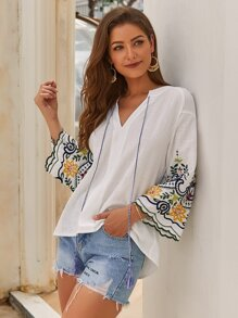 Tassel Tie Embroidery Sleeve Peasant Top