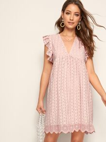Solid Eyelet Embroidery Scallop Hem Dress