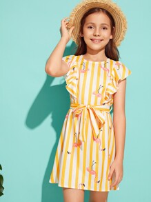 Girls Ruffle Armhole Striped Flamingo Print Belted Dress