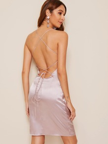 Lace Up Back Satin Cami Dress