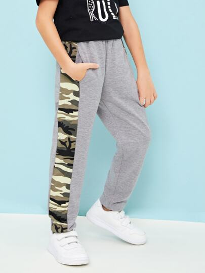 Boys Camo Striped Tape Sweatpants