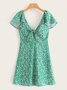 Ditsy Floral Knot Front Shirred Dress
