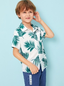 Boys Pocket Patched Tropical Print Shirt
