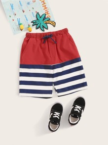 Boys Drawstring Waist Cut And Sew Shorts