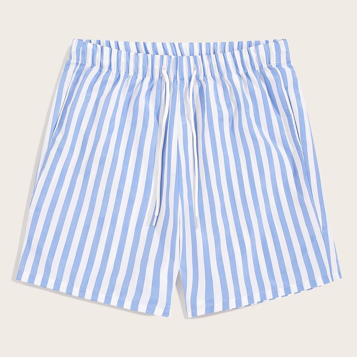 Мужские шорты в полоску с эластичной талией