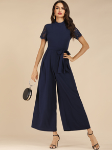 Lace Sleeve Wide Leg Belted jumpsuit