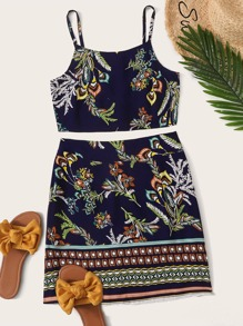 Tribal Print Cami Top With Skirt