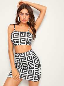 Greek Fret Cami Top With Skirt