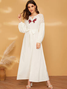 Floral Embroidery Guipure Lace Raglan Sleeve Peekaboo Dress