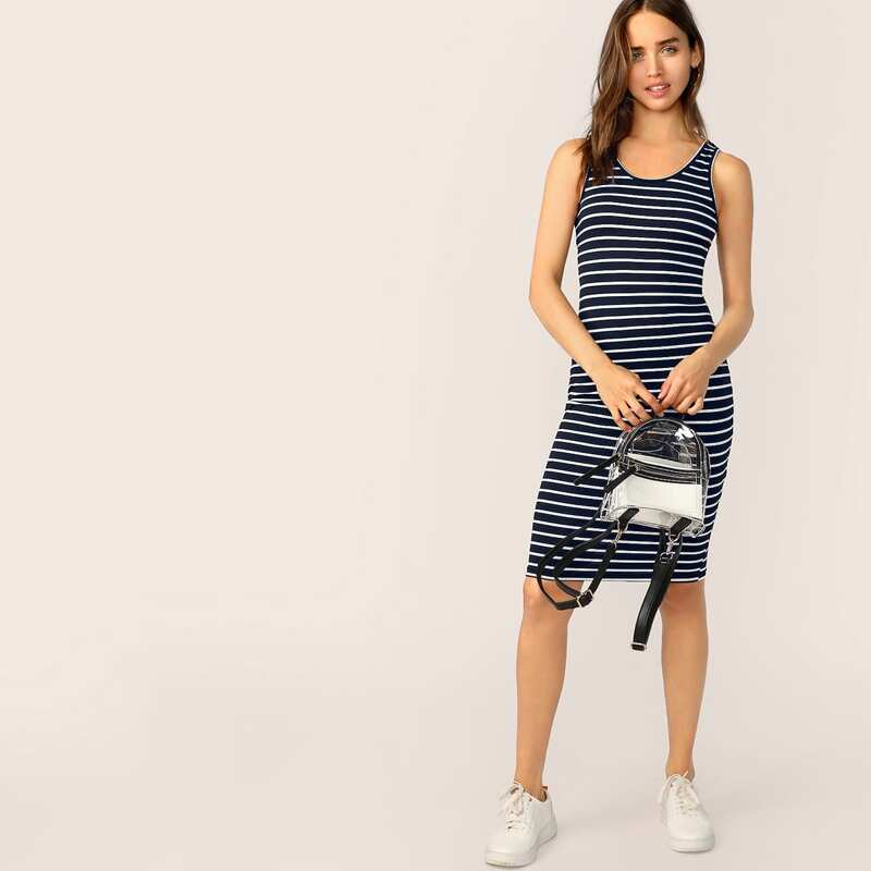 Striped Pencil Tank Dress, Navy