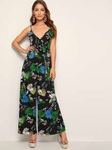 Tropical Print Surplice Front Belted Cami Jumpsuit