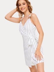 Stripe Print Knot Wrap O-ring Slip Dress