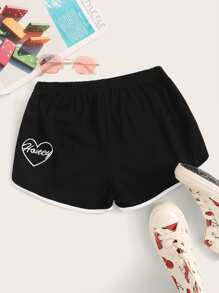 Contrast Binding Letter Embroidery Track Shorts
