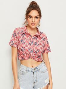 Aztec Print Twist Hem Crop Blouse