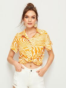 Zebra Print Button Front Blouse