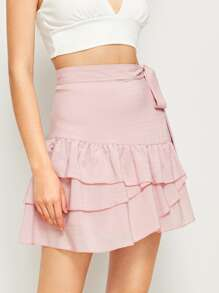 Tiered Layer Ruffle Hem Tie Side Skirt