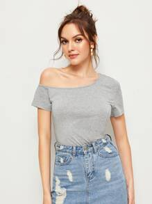 Asymmetric Neck Solid Tee
