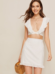 Eyelet Embroidery Ruffle Plunging Neck Top With Skirt