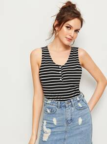 Half Button Stripe Print Tank Top