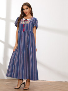Tassel Tie Neck Embroidered Detail Flutter Sleeve Striped Dress