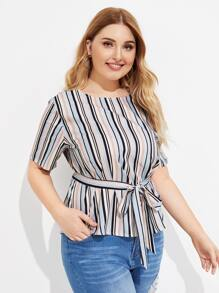 Plus Colorful Striped Belted Blouse
