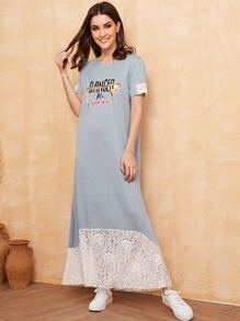 Lace Contrast Letter Print Tee Dress
