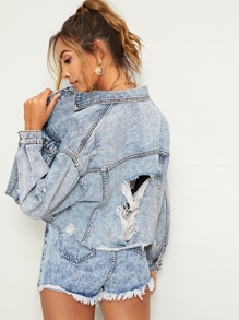 Ripped Frayed Hem Denim Jacket