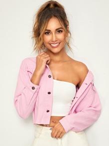 Pink Wash Frayed Hem Denim Jacket
