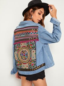 Ripped Embroidered Back Denim Jacket