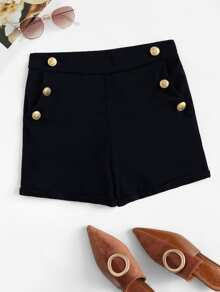 Plus Solid Button Front Shorts
