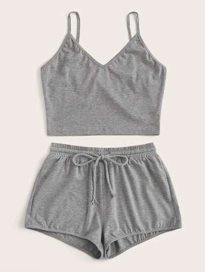 Plus Solid V-neck Cami Top & Drawstring Shorts Set