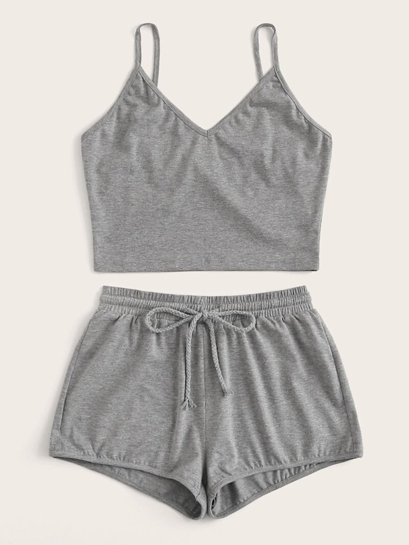 Plus Solid V Neck Cami Top & Drawstring Shorts Set by Romwe