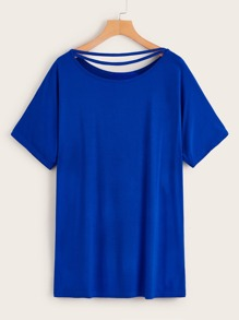 Solid Cut Out T-shirt Dress