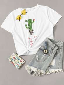 Cactus & Letter Print Tee